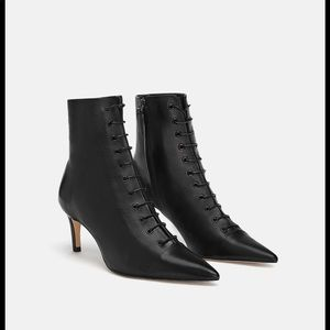 Zara laced leather heeled ankle boot